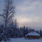The yurt, a warm retreat while aurora-watching.