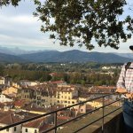 Exploring the sights of Lucca atop the Guinigi Tower with my man.