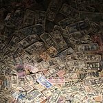 pub ceiling decorated with currency