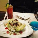 Wedge Salad Appetizer, ceasar cocktail and cascade martini