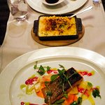 USDA Prime Black Angus (Nebraska) with macaroni & cheese side, Organic Irish Salmon Filet