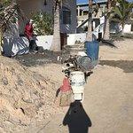 Plumbing construction outside hotel