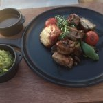 Delicious lamb dish in rooftop restaurant