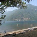 View of Lake Crescent from the small beach at Lake Crescent Lodge