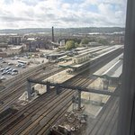 Cardiff Central Station, seen from the room.