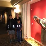 Our friend Nikki showing us the First Nations exhibit in one of the hotel floors