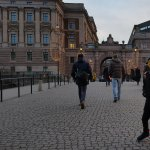 walking towards the Riksdagshuset