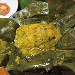 Steamed perch (fish) in banana leaf - our favourite
