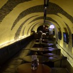 This bar is constructed to look like an old London tube station!