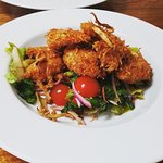 Coconut prawns with Asian style salad