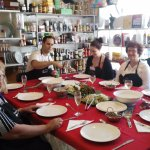 Guests enjoying a three course meal which they made together