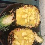 Stuffed pineapple, charred with shrimp