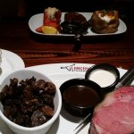 French Onion Soup, Filet & Lobster Tail w/Baked Potato, 16 oz Prime Rib and Sauteed Mushrooms.