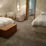 Very spacious garden veiw room with seating area this room is a double/twin/family room