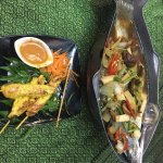 Chicken satay and snapper