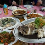 Vege, tauhu, pork dish, steamed garoupa and marmite chicken