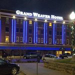 Grand Weaver Hotel at night.