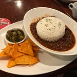 Their chili - love it :-) The little bowl? Jalapenos...
