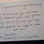 Oak Steakhouse Welcome Card