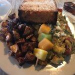 Spinach, tomato, artichoke, feta scramble