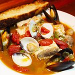 Caribbean Cioppino - catch of the day, mussels and shrimps in a white wine and tomato broth