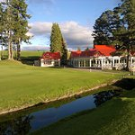The view over the burn at the 18th green of our beautiful clubhouse.