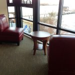 Small sitting area in the stair well! Great for morning coffee looking at the lake.