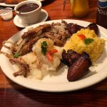 Peril with Yucca, Yellow Rice, Black Beans and Sweet Plantains. (around $15 for dinner portion)