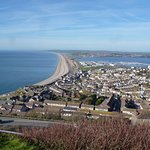 View of Chesil Beach and Weymouth Harbour