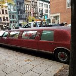 red sparkly limo outside