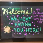 Welcoming sign at the front desk