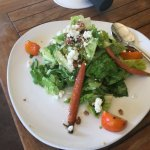 Winter Salad with carrots, goat cheese, candied nuts and a bacon honey dressing