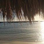 Desde una sombrilla de paja, se puede llegar nadando hasta la parte de enfrente que se ve
