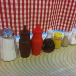 No shortage of condiments... look out for the old photo on the wall too