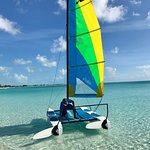 Take lessons with Takeshno on one of our two Hobie Craft Sailboats