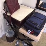 Your choice - desk, or suitcase space, no room for both.