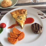Quiche, sweet potato, sausage