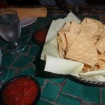 Warm crispy chips with salsa