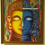 LHS Buddha, RHS Lord Krishna and the 2 lines in the neck represents Mahadev