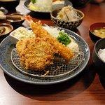 Katsu set with tonkatsu, prawn katsu, salmon katsu and potato katsu.