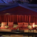 Night view of main tent on roof terrace. Great for moon light dining.