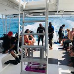 Out for a dive on the scuba boat with the awesome scuba staff.
