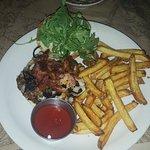 Avalon Burger (Gruyère, Blue Cheese, bacon caramelized onions, roasted garlic aioli, baby arugul