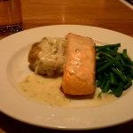 Grilled salmon with crushed new potatoes and white wine & dill dauce