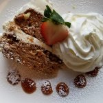 A late lunch of chicken pot pie was highlighted by this scrumptious carrot cake and fresh coffee
