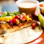 Our Fish Taco with Baked Tilapia and homemade Mango Salsa
