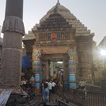 View from outside famous Lord Jagannath Temple at Puri, Orissa. The entrance gate, the market ar