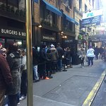 Outside line at Black Tap, Checkout time