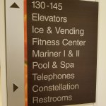 Directional sign outside of lobby