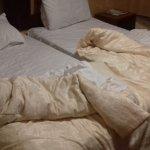 Un-serviced room - Beds not made